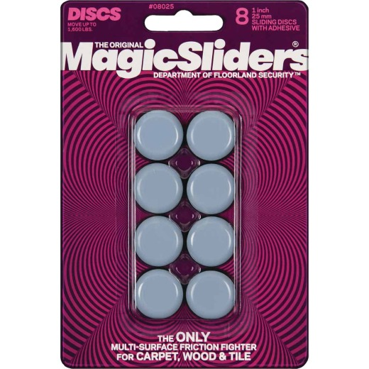 Magic Sliders 1 In. Round Adhesive Furniture Glide,(8-Pack)