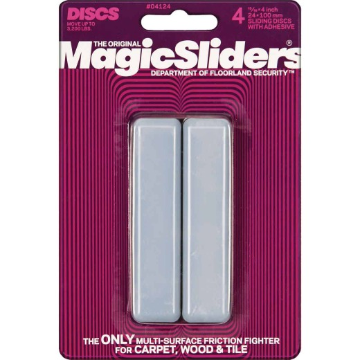 Magic Sliders 1 In. x 4 In. Rectangle Self Adhesive Furniture Glide,(4-Pack)