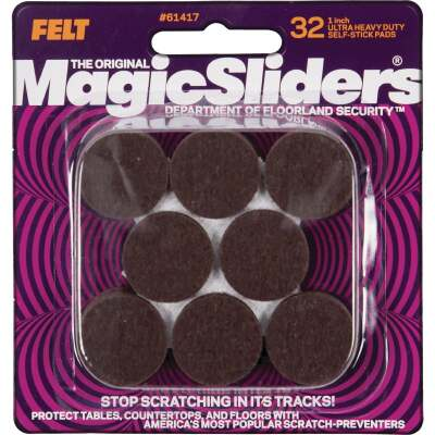 Magic Sliders 1 In. Round Brown Self-Adhesive Ultra Heavy-Duty Pad (32-Pack)