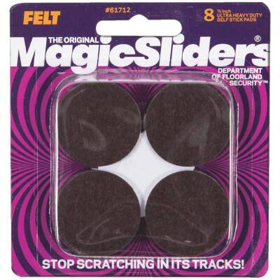 Magic Sliders 1-1/2 In. Round Brown Self-Adhesive Ultra Heavy-Duty Furniture Pad (8-Pack)