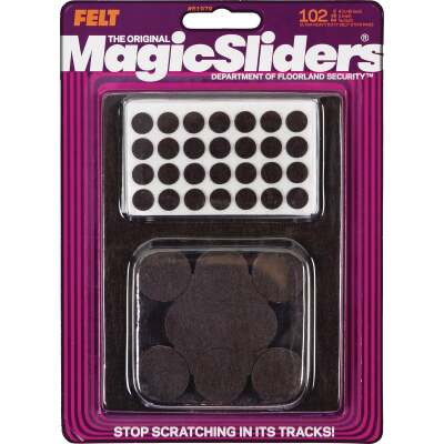 Magic Sliders Assorted Brown Self-Adhesive Ultra Heavy-Duty Furniture Pad (102-Pack)