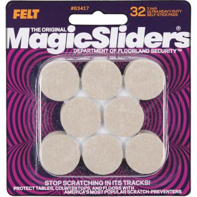 Magic Sliders 1 In. Round Oatmeal Self-Adhesive Heavy-Duty Furniture Pad (32-Pack)