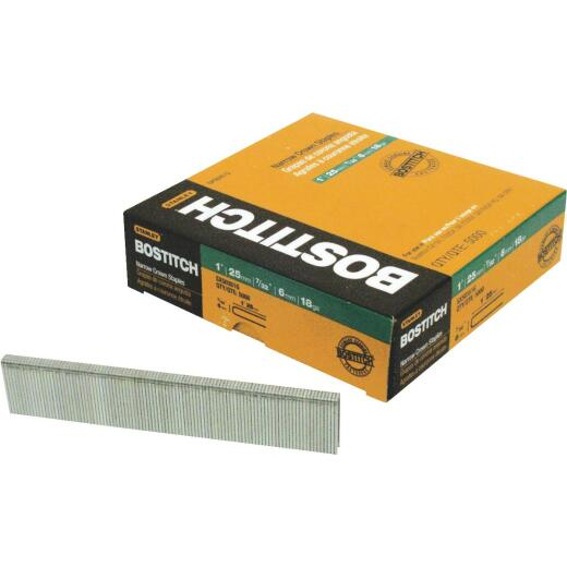 Bostitch 18-Gauge Galvanized Narrow Crown Finish Staple, 7/32 In. x 1-1/8 In. (3000 Ct.)