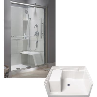Sterling Accord 48 In. W x 36 In. D Center Drain Seated Shower Floor & Base in White