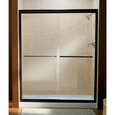 Sterling Finesse 47-5/8 In. W. X 70-1/16 In. H. Bronze Frameless Clear Sliding Shower Door