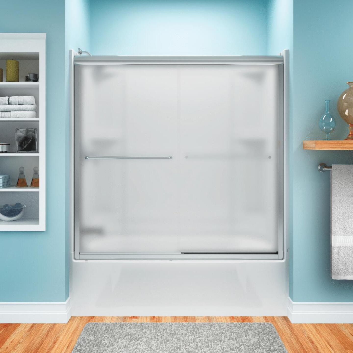 Sterling Finesse 59-5/8 In. W. X 55-3/4 In. H. Chrome Semi-Frameless Frosted Glass Sliding Tub Door Image 1