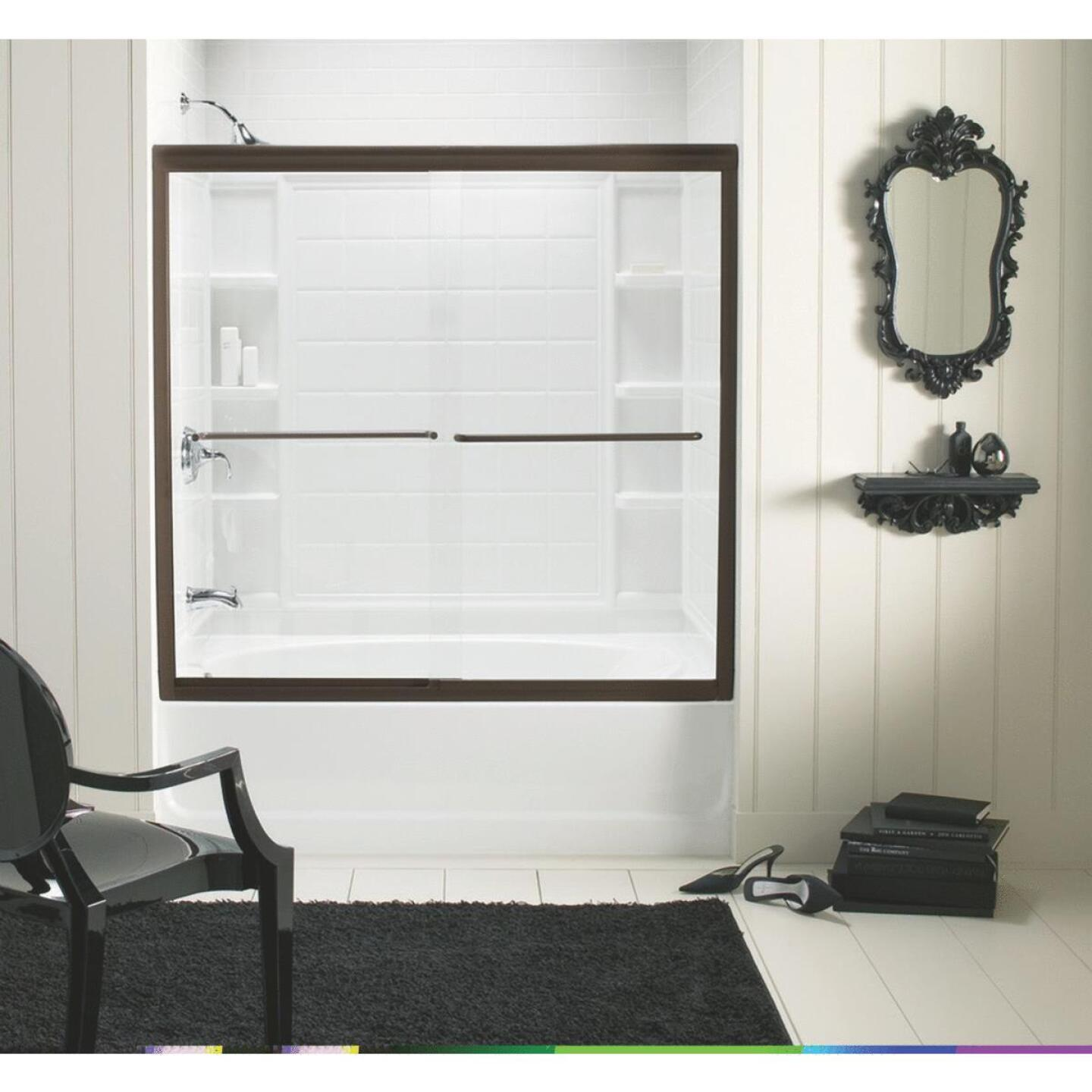 Sterling Finesse 59-5/8 In. W. X 55-3/4 In. H. Bronze Semi-Frameless Clear Glass Sliding Tub Door Image 1