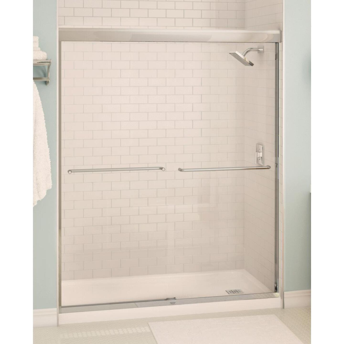 Maax Aura 59.5 In. W. X 71 In. H. Chrome Frameless Clear Glass Sliding Shower Door Image 1
