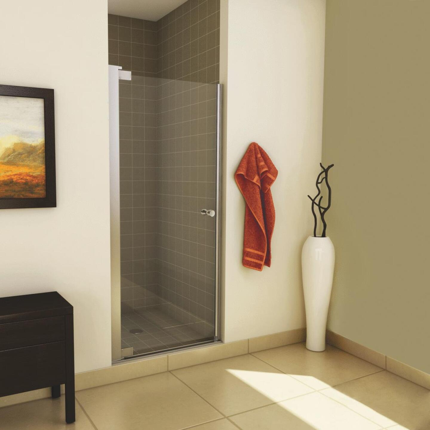 Maax Madono 33.5 In. W. X 67 In. H. Chrome Clear Glass Pivot Shower Door Image 2