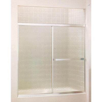 Sterling Standard 59 In. W. x 56-7/16 In. H. Chrome Hammered Glass Sliding Tub Door