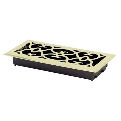 Accord Victorian 4 In. x 10 In. Plated Polished Brass Steel Floor Register