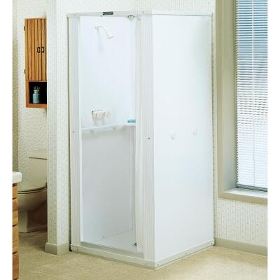 Mustee Durastall 36 In. W. x 36 In. D. White Thermoplastic Shower Stall