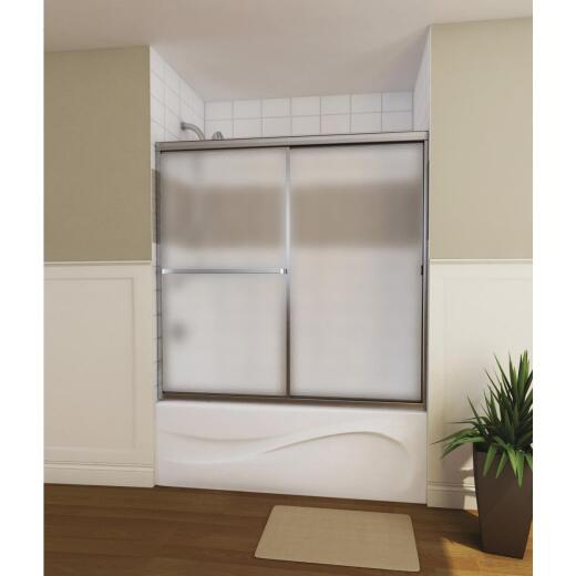 Maax Mika 54-59 In. W x 55 In. H Chrome Opaque Glass Sliding Tub/Shower Door