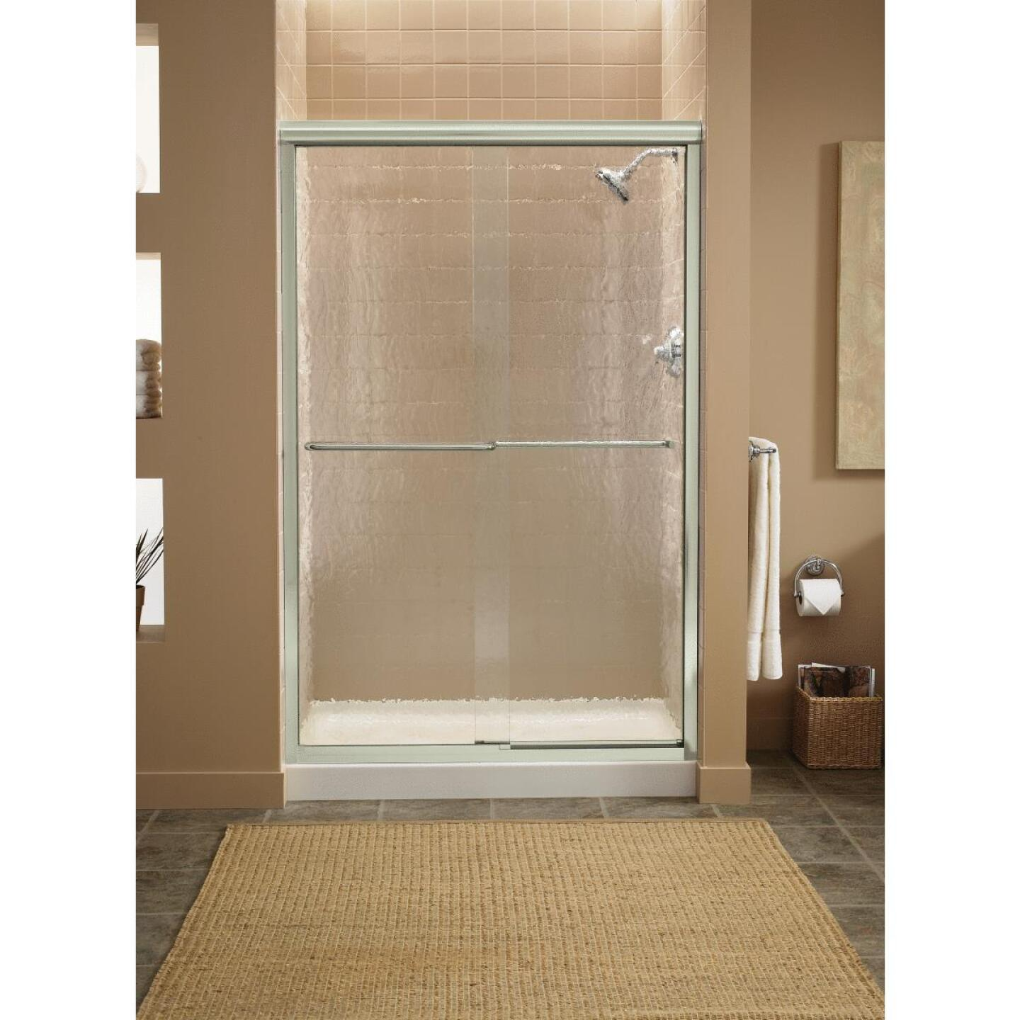 Sterling Finesse 47-5/8 In. W. X 70-5/16 In. H. Nickel Frameless Clear Sliding Shower Door Image 2