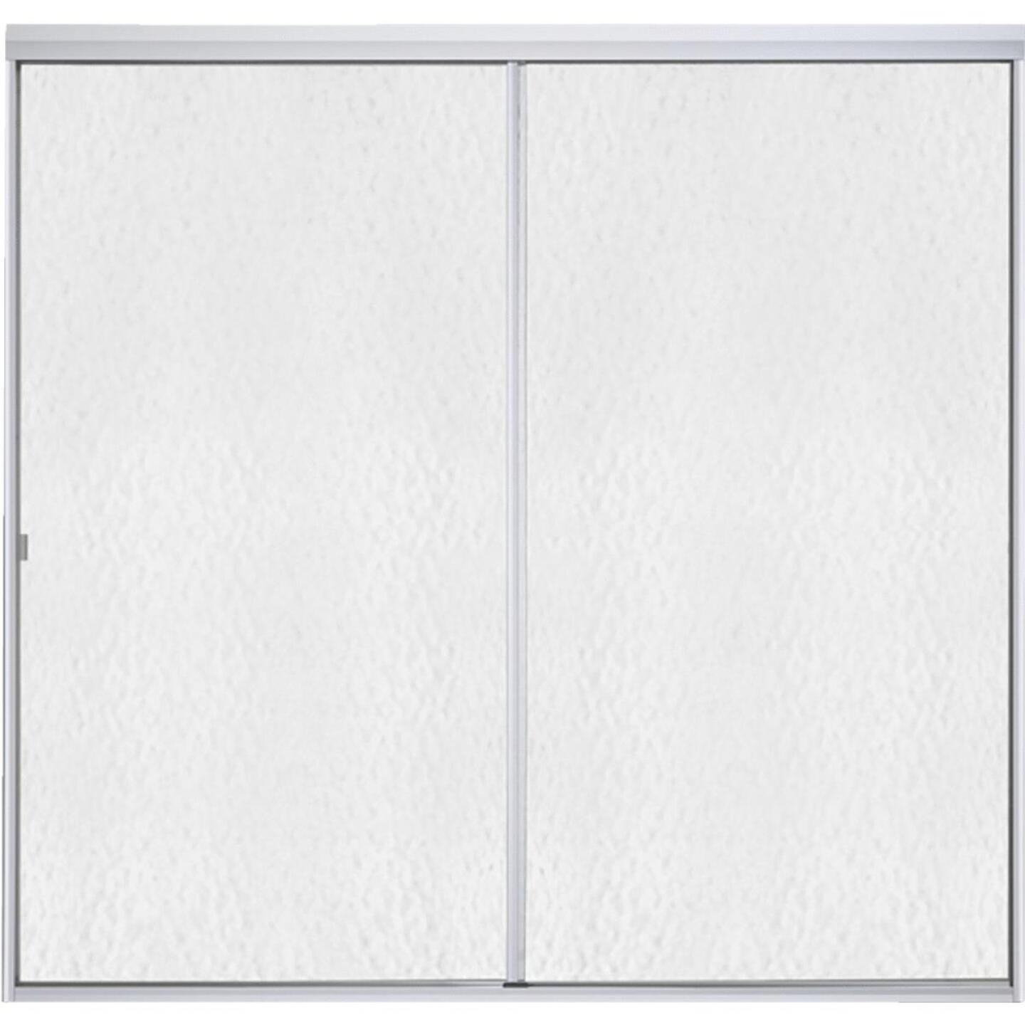 Sterling Standard 59 In. W. x 56-1/16 In. H. Chrome Hammered Glass Sliding Tub Door Image 1