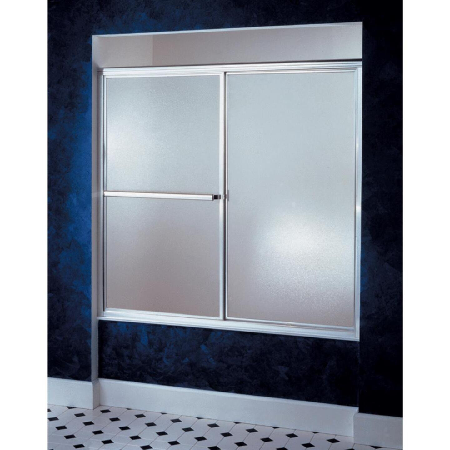 Sterling Deluxe Framed 59-3/8 In. W. X 56-1/4 In. H. Chrome Rain Glass Sliding Tub Door Image 1