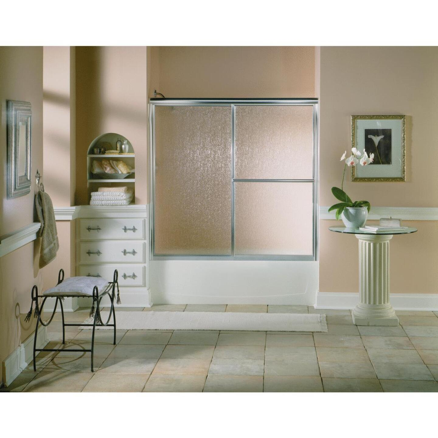 Sterling Deluxe Framed 59-3/8 In. W. X 56-1/4 In. H. Chrome Rain Glass Sliding Tub Door Image 3