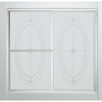Sterling Deluxe Framed 59-3/8 In. W. X 56-1/4 In. H. Chrome Smooth with Elipse Pattern Sliding Tub Door