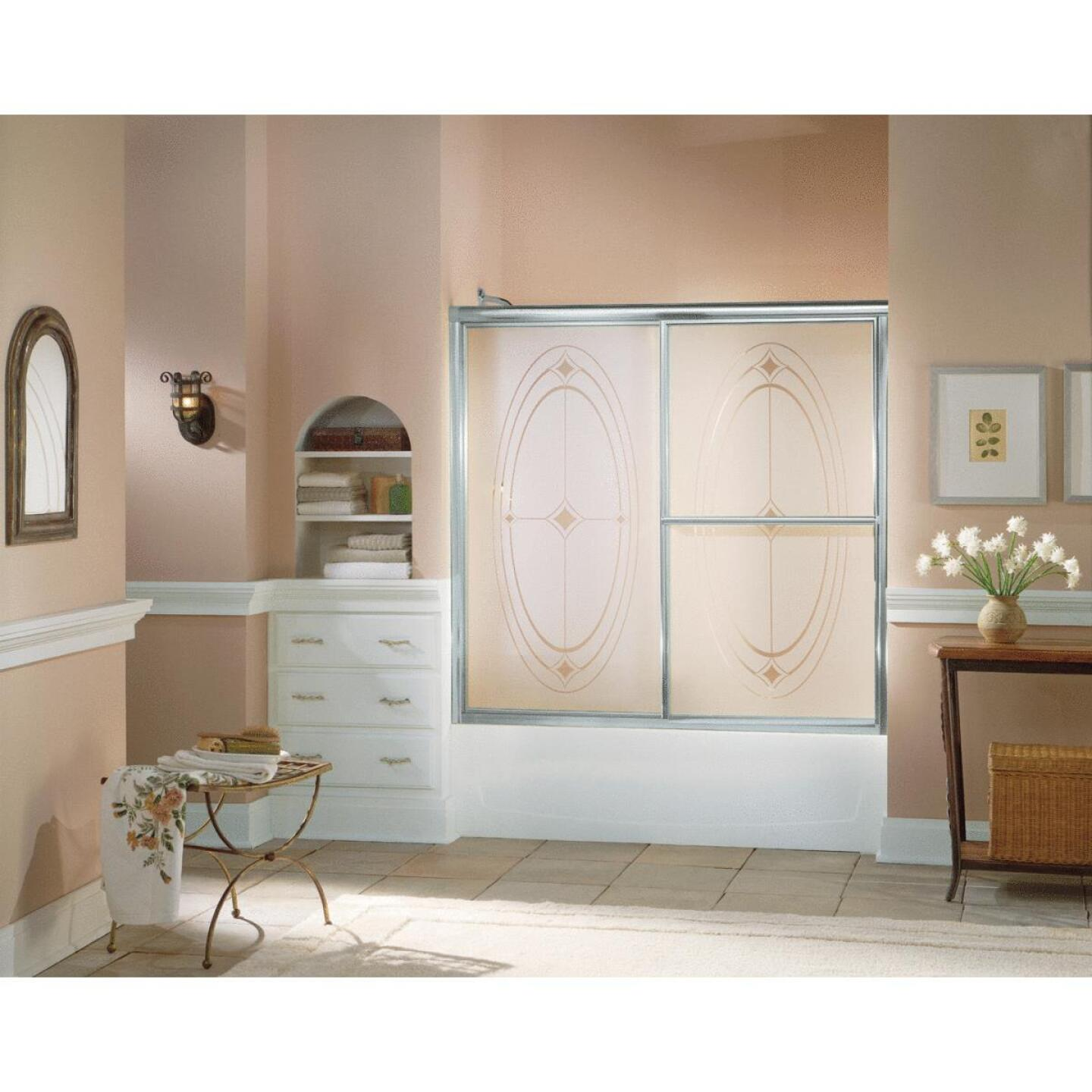 Sterling Deluxe Framed 59-3/8 In. W. X 56-1/4 In. H. Chrome Smooth with Elipse Pattern Sliding Tub Door Image 2