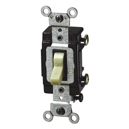 Leviton Commercial Grade 15 Amp Toggle Single Pole Switch, Ivory