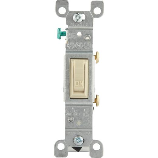 Leviton Residential Grade 15 Amp Toggle Single Pole Switch, Ivory