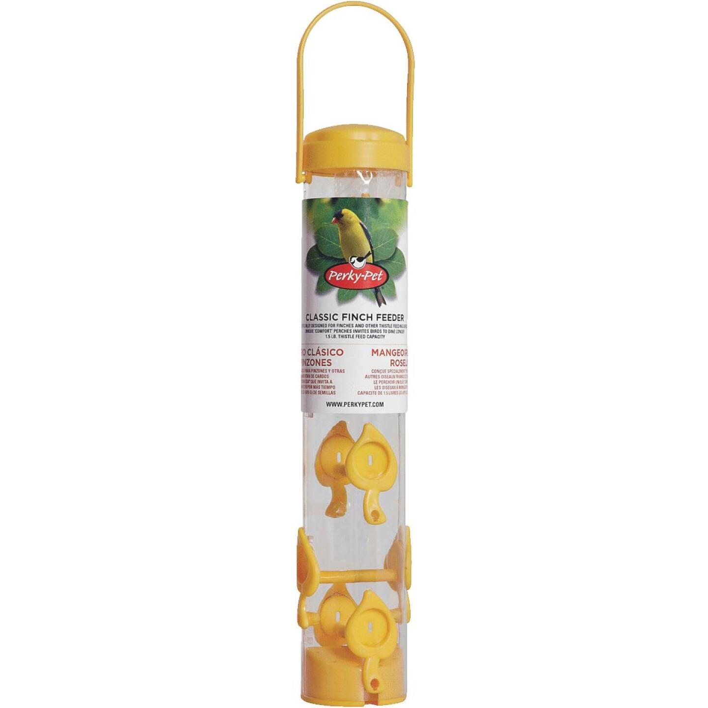 Perky-Pet Classic  14-1/2 In. 1.5 Lb. Capacity Yellow Nyjer Seed Finch Thistle Feeder Image 2