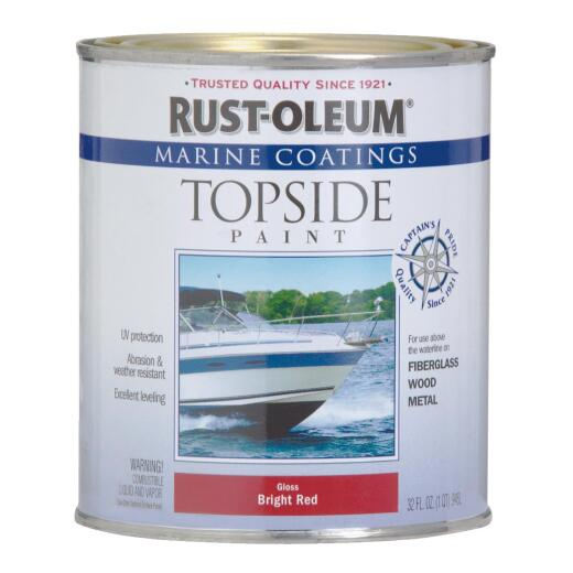 Rust-Oleum Gloss Marine Boat Topside Paint, Brilliant Red, 1 Qt.