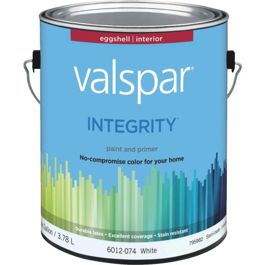 Valspar Integrity Latex Paint And Primer Eggshell Interior Wall Paint, White, 1 Gal.